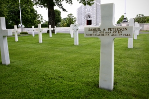 The grave for Pvt. Samuel Peterson of Charlotte, killed in the Normandy campaign.