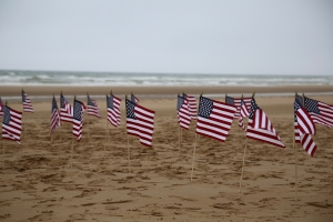 U.S. flags on Omaha Beach, planted by the PNNMB