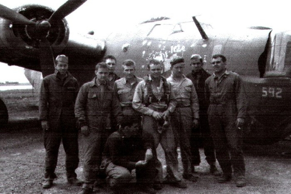 Frank Rutherford (far right) and his crew after a crash landing on return from the Ploesti oil fields June 24, 1944